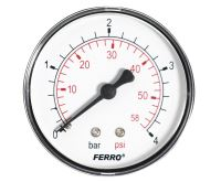 """Manometr - tlakoměr 63mm 1/4"""" Axiál - zadní vývod 0-4 bar"""