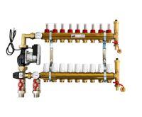 KIIPTHERM PROFI 5R -  9 okruhů, rozdělovač podlahového vytápění s čerpadlem, směšováním, hlavice a průtokom.
