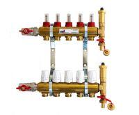KIIPTHERM PROFI 4 -  5 okruhů, rozdělovač podlahového vytápění s hlavicemi a průtokoměry