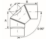 Almeva Koleno 0-90° nastavitelné s čistícím otvorem - ø160