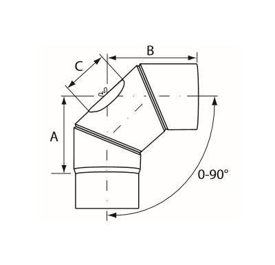 Almeva Koleno 0-90° nastavitelné s čistícím otvorem - ø130