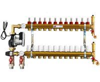 KIIPTHERM PROFI 5R - 12 okruhů, rozdělovač podlahového vytápění s čerpadlem, směšováním, hlavice a průtokom.