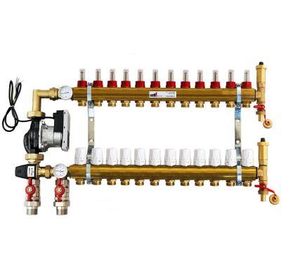 KIIPTHERM PROFI 5 - 12 okruhů, rozdělovač podlahového vytápění s čerpadlem, směšováním, hlavice a průtokom.