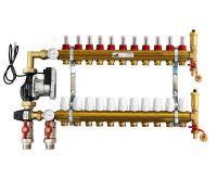 KIIPTHERM PROFI 5R - 11 okruhů, rozdělovač podlahového vytápění s čerpadlem, směšováním, hlavice a průtokom.