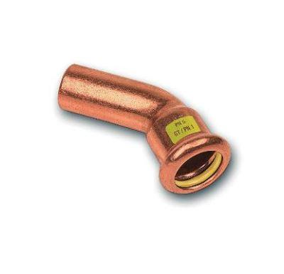 CU lisovací koleno 45° 9040 - 15 - pro topení i rozvod plynu F/M