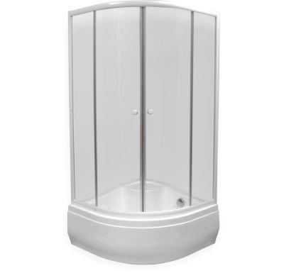 Sprchový kout  čtvrtkruh 90x90x160 cm - bílý - sklo - čiré