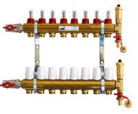 KIIPTHERM PROFI 4 -  8 okruhů, rozdělovač podlahového vytápění s hlavicemi a průtokoměry