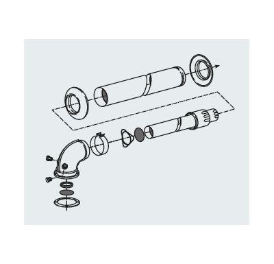 Ariston koaxiální odkouření s kolenem pro zásobník falešné turbo