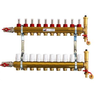 KIIPTHERM PROFI 4R - 10 okruhů, rozdělovač podlahového vytápění s hlavicemi a průtokoměry
