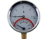 """Termomanometr 81mm 0-4 bar, 0-120°C, spodní vývod 1/2"""""""