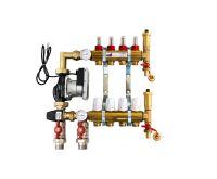 KIIPTHERM PROFI 5 -  4 okruhy, rozdělovač podlahového vytápění s čerpadlem, směšováním, hlavice a průtokom.