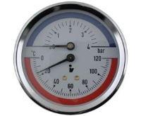 """Termomanometr 81mm 0-4 bar, 0-120°C, zadní vývod 1/2"""""""