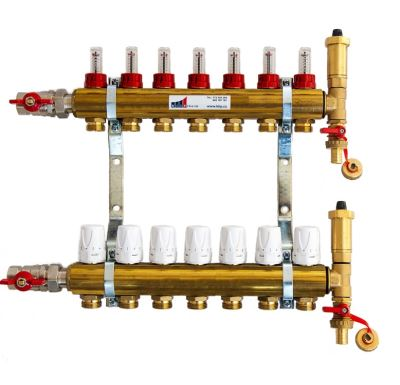 KIIPTHERM PROFI 4R -  7 okruhů, rozdělovač podlahového vytápění s hlavicemi a průtokoměry