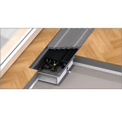 BOKI InFloor Podlahový konvektor F1P  90/180-2500mm - pozink S ventilátorem