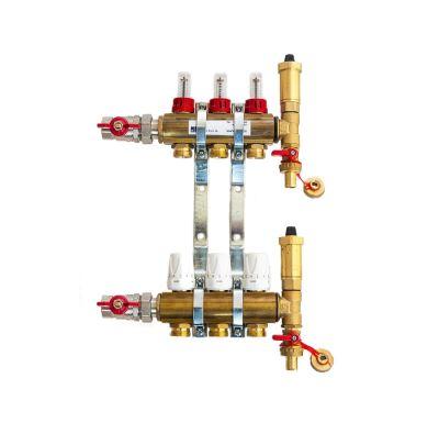 KIIPTHERM PROFI 4R -  3 okruhy, rozdělovač podlahového vytápění s hlavicemi a průtokoměry