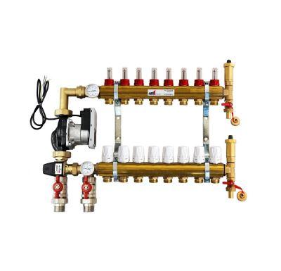 KIIPTHERM PROFI 5R -  8 okruhů, rozdělovač podlahového vytápění s čerpadlem, směšováním, hlavice a průtokom.
