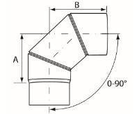 Almeva Koleno 0-90° nastavitelné - ø150
