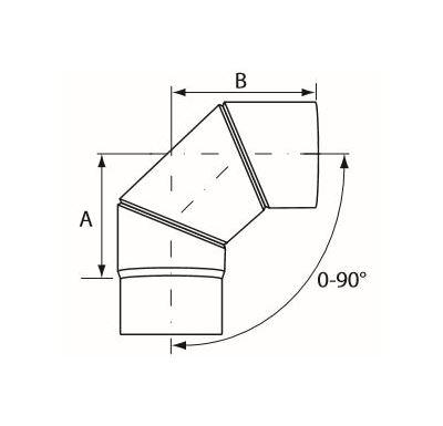 Almeva Koleno 0-90° nastavitelné - ø200