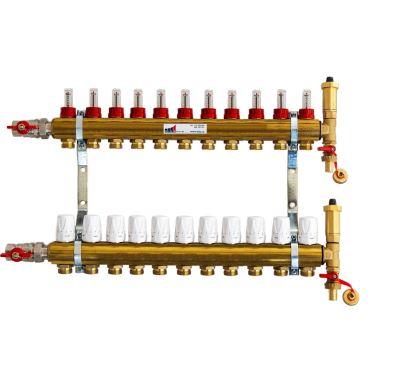 KIIPTHERM PROFI 4R - 11 okruhů, rozdělovač podlahového vytápění s hlavicemi a průtokoměry