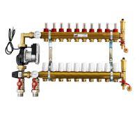KIIPTHERM PROFI 5R - 10 okruhů, rozdělovač podlahového vytápění s čerpadlem, směšováním, hlavice a průtokom.