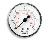 """Manometr - tlakoměr 63mm 1/4"""" Axiál - zadní vývod 0-6 bar"""